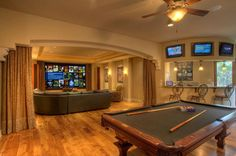 Game Room Ideas [Game Room Setup For Adults & Kids] Game / Media Room – Rec Room – Luxury Home Theater / Living Area with Billiards Table / Pool T Media Room Design, Game Room Design, Home Theater Rooms, Home Theater Design, Attic Design, Game Room Basement, Basement Ideas, Basement Designs, Basement Ceilings