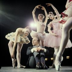 New York City Ballet - Newsweek cover shot of George Balanchine with dancers clockwise from Patricia Neary, Gloria Govrin, Suzanne Farrell and Patricia McBride's leg (New York)