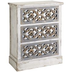 Pier 1 Imports Cosette Chest White ($400) ❤ liked on Polyvore featuring home, furniture, storage & shelves, dressers, dresser, cabinet, antiqued mirror, ornate furniture, white dresser and white bedroom dresser