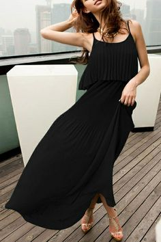 Dress made of chiffon, featuring double slim straps, pleats to main, bound waist, in ankle length cut.$38