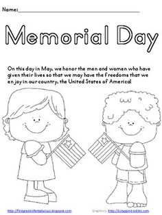Memorial Day Coloring Page. Great activity for kids on Memorial Day {FREEBIE! Preschool Lessons, Lessons For Kids, Bible Lessons, Preschool Activities, Body Preschool, Holiday Activities, Memorial Day Coloring Pages, Memorial Day Activities, Daisy