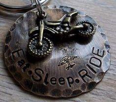 Eat Sleep RIDE Dirtbike/Motocross Keychain by FetchAPassionTags, $18.00