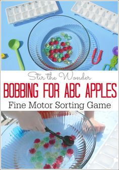 Bobbing for ABC Apples is a fun hands-on literacy game for preschoolers and kinders that includes the sensory element of water as well as practicing fine motor skills! Preschool Apple Theme, Apple Activities, Autumn Activities For Kids, Alphabet Activities, Preschool Apples, Kindergarten Learning, Early Learning, Literacy Activities, Preschool Activities