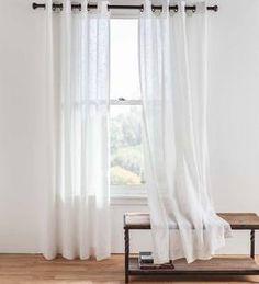 Single Sheer Linen Window Curtain Panel With Grommets, White - Plow & Hearth : Target Patio Door Drapes, Window Curtains, Window Seats, Curtains Living, White Linen Curtains, Sheer Drapes, French Country Living Room, Custom Drapes, Grommet Curtains