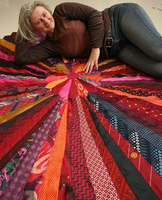 Rug made from Recycled ties - Rug with maker by eileenaway, via Flickr. Which room would you put this in?