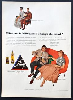 1955 Blatz Beer Vintage Print Ad - Milwaukee's Finest