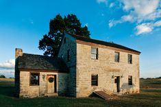 Hochheim's Stagecoach Inn, DeWitt County, Texas - a two and a half story structure built of stone from the banks of the nearby Guadalupe River, the 1856 Valentin Hoch Home stands amid rolling blackland prairie dotted with live oaks and pecans.