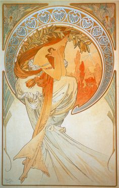 Vintage et cancrelats: Alfons Maria Mucha. The Arts, 1898 - Poetry I HAVE BEEN CARRYING THIS PRINT AROUND WITH ME FOR 40 YEARS! I LOVE MUCHA