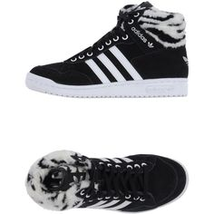 Adidas Originals Sneakers ($110) ❤ liked on Polyvore featuring shoes, sneakers, black, flat sneakers, leather flat shoes, black sneakers, round cap and adidas originals trainers