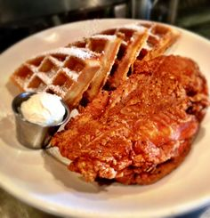 Boneless Fried Chicken and Waffles. #droolworthy Gus's BBQ. South Pasadena, CA. Concept by Bicos Hospitality.