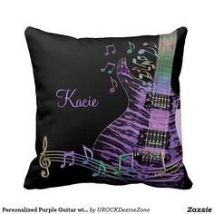 Personalized #Purple #Guitar with Rainbow #Music Notes Throw #Pillow  #zazzle