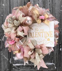 Vintage Valentine Wreath, Shabby Chic Valentine Wreath, Shabby Chic Decor, Vintage Decor, Valentine Door Hanger, Be My Valentine Wreath by ADoubleDCreation on Etsy