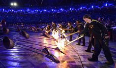 2012 London Olympics Opening Ceremony. The lighting of the Olympic flame.