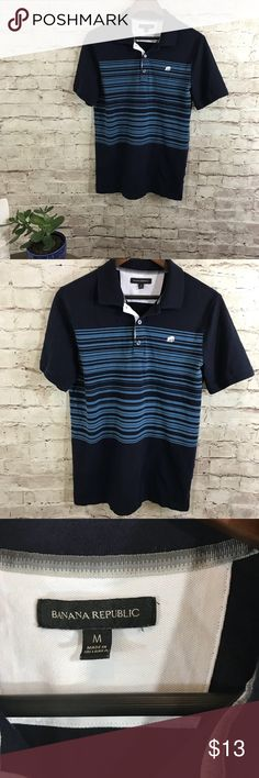 Banana Republic blue polo shirt Gently used, great navy blue and blue stripes polo shirt. Size M Banana Republic Shirts Polos