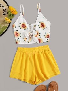 To find out about the Sunflower Print Tie Front Shirred Cami Top & Shorts at SHEIN, part of our latest Two-piece Outfits ready to shop online today! Girls Fashion Clothes, Summer Fashion Outfits, Cute Fashion, Look Fashion, Girl Fashion, Cheap Fashion, Fashion Dresses, Womens Fashion, Crop Top Outfits