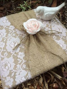 Pale pink rustic wedding guest book
