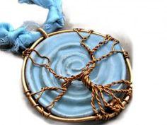 Náhrdelník keramický Modrý strom