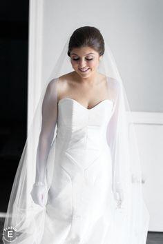 Real Weddings: Meet Emily | Finery: Carol Hannah Tourmaline Gown, Mica Veil, Australis Faux Fur Shrug| Photography:Elario Photography