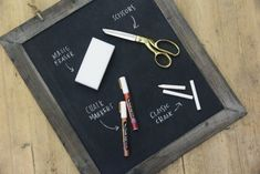 "tend to look slightly ""cleaner"" and last more permanently than chalk. – Scissors or a knife for sharpening if you opt to use classic chalk. (Proceed with extra care!) – A Magic Eraser. The Magic Eraser completely erases any marks, mistakes, or chalk residue. – A piece of scratch paper cut to the size of your chalkboard for spacing practice"