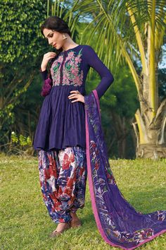 Purple Peplum Punjabi Suit