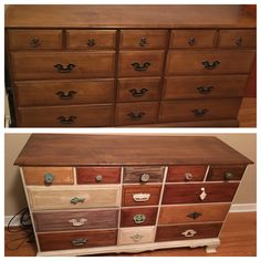 From a normal looking dresser to a fun multi stained piece. Super easy makeover.