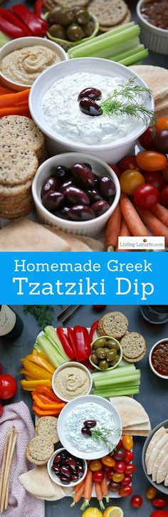 Homemade Greek Tzatziki Dip Recipe makes an Easy Vegetable Platter. Traditional Greek Tzatziki dip recipe and fresh vegetable tray platter. Pair sauce with chicken or lamb meat. Greek yogurt and cucumber sauce veggie tray. Greek Tzatziki Recipe, Tzatziki Recipes, Tzatziki Sauce, Appetizer Dips, Appetizer Recipes, Dinner Recipes, Holiday Recipes, Healthy Snacks, Healthy Eating