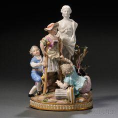 Meissen Porcelain Figural Group, Germany, late 19th century, polychrome enamel…