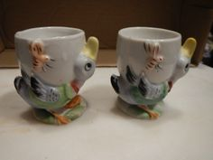 Vintage Pair of Japan Egg Cups Duck and Bee Antique 1920's Hand Painted | eBay