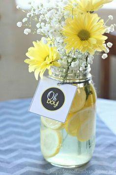 Yellow, centerpiece, lemons, flowers, baby's breath, mason jar