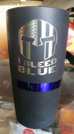thin blue line yeti rambler, custom powder coating and lasered graphics