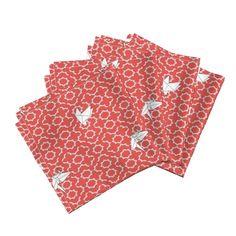 Paper Birds on Red arabesque on Amarela by inky_leguin Cloth Dinner Napkins, Napkins Set, Origami White, Paper Birds, Natural Texture, Arabesque, Tea Towels, Spoonflower, Cotton Canvas