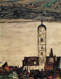 Egon Schiele - Iglesia de Stein en el Danubio, 1913