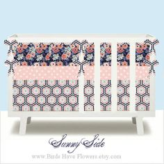 Custom baby bedding girl bedding in Sunny Side includes bumper set ,changing pad cover , fitted sheet and crib skirt