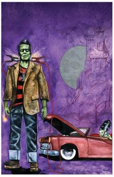 Electric Frank  Date Night 11x17 inches hot rod beatnik frankenstein takes his bride out for some old school hammer horrors signed