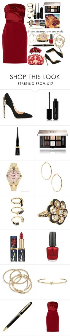 """""""Smile Sweetheart"""" by bored-as-hell ❤ liked on Polyvore featuring Cerasella Milano, Marc Jacobs, Christian Louboutin, Givenchy, Rolex, GUESS by Marciano, Noir Jewelry, Vintage, Alexander McQueen and OPI"""