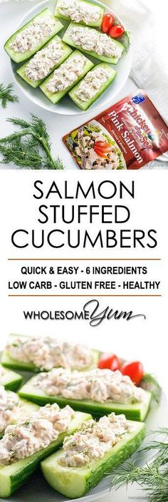 Salmon Stuffed Cucumbers Appetizers With Cream Cheese - If you're looking for healthy cucumber snacks, try salmon stuffed cucumbers! With just 6 common ingredients, they are quick & easy cucumber appetizers, too. Cucumber Appetizers, Low Carb Appetizers, Best Appetizers, Appetizer Recipes, Party Recipes, Cheese Appetizers, Healthy Recipes, Healthy Snacks, Quick Snacks