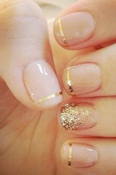Nude and gold nails - love the idea of a metallic stripe.