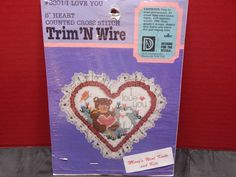 I Love You 5 Heart Counted Cross Stitch Trim'N Wire