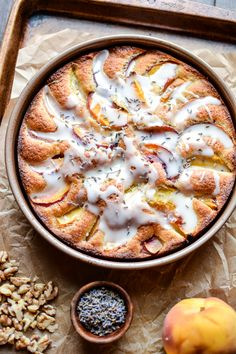 Lavender, Peach Cake with Walnuts: an ode to the end of summer/beginning of fall!