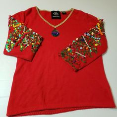 204cb5681b Michael Simon Christmas Sweater 2004 Trees NOT UGLY Sequins Beads Red Sz  Small  MichaelSimon