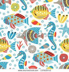 Marine Life Seamless Background Stock Vector 137619743 : Shutterstock