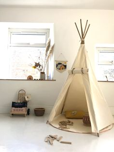 Hand Made in Wales - Organic Cotton Teepee with Bamboo Poles. This delightly teepee is built to last and grow with your childs imagination. Teepee Nursery, Diy Teepee, Woodland Nursery Boy, Teepee Kids, Toddler Teepee, Teepees, Toddler Bed, Girls Bedroom Furniture, Kids Furniture