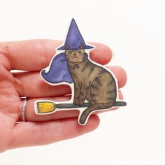 Halloween chat broche Witch Cat Cat - Halloween Pin - Pin - Unique Boutonnière