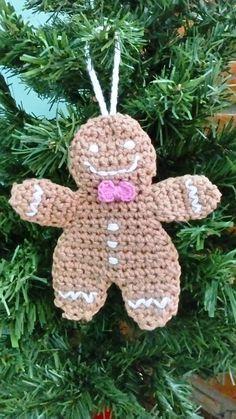 Pingente de árvore de natal em forma de biscoito de gengibre. Ideal para árvores grandes, preparação de guirlandas ou enfeite de porta.