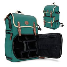 GOgroove DSLR Camera Backpack Case Green for Photography and Laptop Travel Use with Accessory Storage Room Tripod Holder and Weatherproof Rain Cover for Sony a6000 Canon EOS T6 Nikon D5500 *** Learn more by visiting the image link.