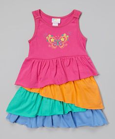 Loving this Pink Butterfly Ruffle Dress - Infant, Toddler & Girls on #zulily! #zulilyfinds