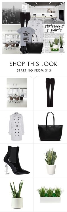 """""""Say It Loud: Slogan T-Shirts"""" by dezaval ❤ liked on Polyvore featuring Eurø Style, Anja, Paige Denim, Burberry, Lacoste, Yves Saint Laurent and PLANT"""