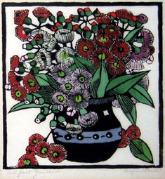 Australian Gum Blossoms Hand coloured woodblock print x cm by Margaret Rose (MacPherson) Preston Australia Margaret Preston, Margaret Rose, Australian Painters, Australian Artists, Australian Wildflowers, Wood Engraving, Woodblock Print, Art Auction, Botanical Art