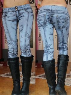 Anime-style jeans by German cosplayer known as Kirameku. She used water-based textile paints to draw on the preliminary lines and creases. Then she added highlights and shading to give the appearance of texture and depth. It might look simple, but the design took hours to perfect.