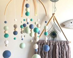 Felt ball baby mobile- Double arch 'Galaxy' style | crib mobile- nursery decor | baby boy blue, turquoise, mint, grey & white- made to order